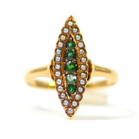 Antique Victorian Emerald and Diamond Navette Ring