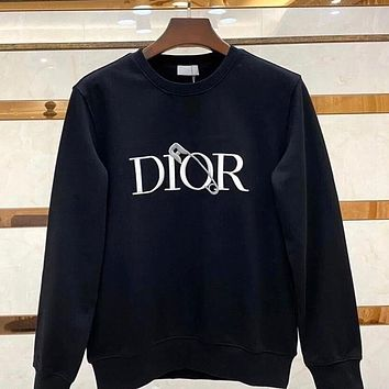 Dior new letter pin DR round neck all-match casual men's and women's jacket sweate Black