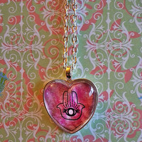 Hamsa Hand glass dome heart necklace for tween or teen girl