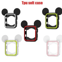 5 colors Cover Soft Rubber replacement Case For Apple Watch Silicone mickey cover Nike + For iwatch series 3/2/1 38mm 42mm