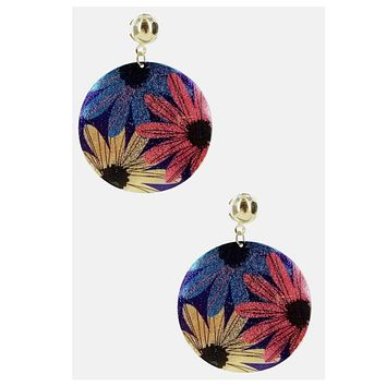Large Disc Floral Earrings