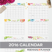 Printable Calendar - EDITABLE 2015 2016 Digital Monthly Pages INSTANT DOWNLOAD
