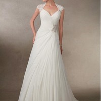[159.99] Stunning Chiffon Queen Anne Neckline A-line Wedding Dresses With Beaded Lace Appliques - dressilyme.com