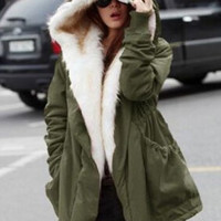 Hooded Candy Color Long Sleeve Coat