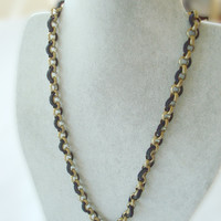 Men's Brass Chain Necklace with Black Deerskin Leather. Simple and Masculine.