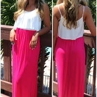 Days Of Grace Ivory And Neon Pink Color Block Maxi Dress