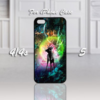 Cosmic Nebula Animals Deer, Design For iPhone 4/4s Case or iPhone 5 Case - Black or White (Option)