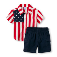 Baby Boys Short Sleeve Stars and Stripes Button-Down Top And Solid Woven Shorts Set | The Children's Place