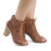 Jamie31 By Aquapillar, Peep Toe Lace Up Cut Out Stacked Heel Sandals