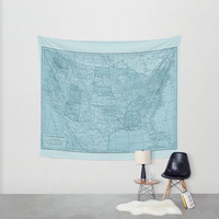 United States Map Tapestry Wall hanging - vintage map, soft vintage blue, beautiful map, travel decor, wall decor den, dorm room