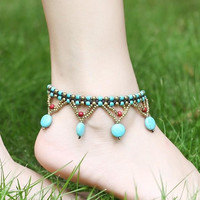 Bohemian Turquoise Beads Braided Copper Bell Anklet