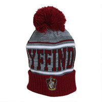 Gryffindor Embroidered Striped Knit Beanie |