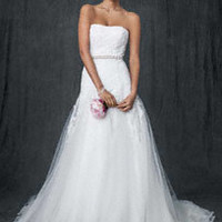 Allover lace A-line gown with beaded motif detail