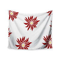 "NL Designs ""White Pointsettias "" Red Flower Wall Tapestry"