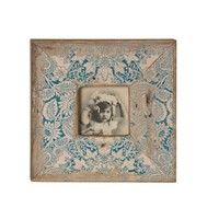 Wilco Imports Distressed Blue Floral Picture Frame 10-inch x 1.25-inch x 10-inch Photo size ( 4 x 4 )