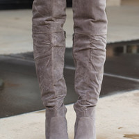 My Favorite Knee High Suede Boots Gray