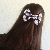 Baseball Hair Bow Dark Blue with Baseballs or Softballs Hair Clip Girl Teen Woman