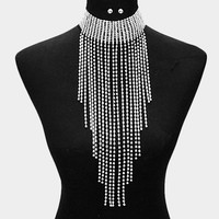 "12"" crystal fringe choker collar necklace bridal prom body chain"