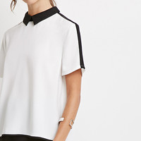 Colorblocked Collar Blouse
