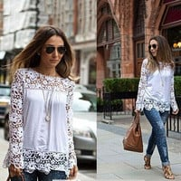 Spring Ladies Floral Full Sleeve Chiffon Blouse Lace Top Shirt Blouse Women Clothing Plus size