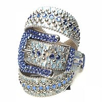 b.b. Simon Sea Blue Pirarucu Swarovski Crystal Belt