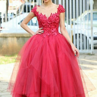 New Tea Length Ball Gown Prom Dress Muslim Arabic Red Prom Dresses 2016 Kaftan Dubai Party Cocktail Formal Occasion Gowns