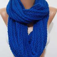 UNISEX  Elegant and soft  Infinity Scarf  Circle Scarf   Knit Fall Scarf  Cobalt Blue