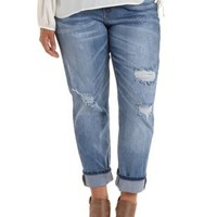Plus Size Destroyed & Cropped Boyfriend Jeans