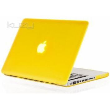 """Kuzy - YELLOW 13-inch Ultra Slim Rubberized Hard Case Light Weight Matte Cover for MacBook Pro 13.3"""" (A1278 with or without Thunderbolt) Aluminum Unibody - Yellow"""