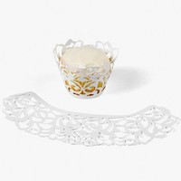 White Laser Cut Cupcake Collars Wrappers -24 ct