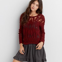 AEO OPEN KNIT CREW SWEATER