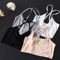Beach Hot Summer Comfortable Stylish Bralette Ladies Stretch Slim Wrap Cotton Crop Top Sexy Spaghetti Strap Vest [6651191361]