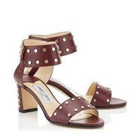 Jimmy Choo Burgundy Vino Calf Leather With Gold Studs Sandals