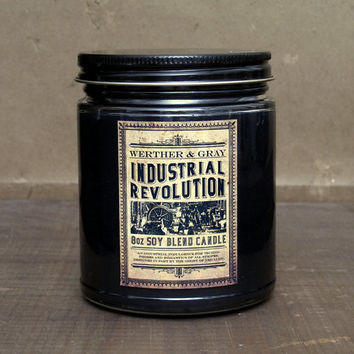 INDUSTRIAL REVOLUTION Scented Candle 8oz Soy Blend, Amber Coal Smoke, Industrial Decor, History Gift, Victorian Steampunk Style