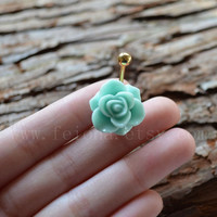 Mint Green resin flower belly button ring, Rose Navel Piercing, friend belly rings, Dangle Belly Ring , Belly Button Piercing, Belly jewelry