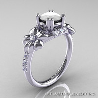 Nature Inspired 14K White Gold 1.0 Ct White Agate Diamond Leaf and Vine Engagement Ring R245-14KWGDWA