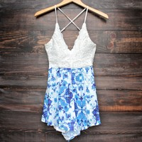 FINAL SALE - crochet open back blue floral print romper