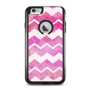 The Pink Water Color with White Chevron Apple iPhone 6 Plus Otterbox Commuter Case Skin
