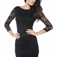 Black Lace Dress with Sheer Quarter Sleeves