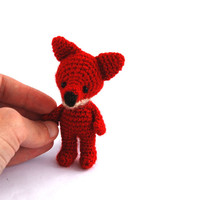 miniature fox stuffed woodland animal little amigurumi fox crocheted wee red fox cuddle little doll red forest animal collectible