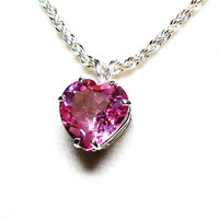 "Pink topaz pendant, pink topaz, topaz pendant, heart pendant, pink, soft pink jewelry, ""Sweet Pea Pink"""