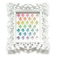 Rainbow Ombre Doves in Ornate Vintage Frame - Hand-painted birds display art - Pastel Home Decor