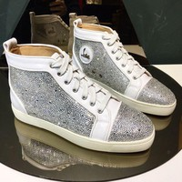 DCCK CL Christian Louboutin Men's Leather Fashion High Top Sneakers Shoes