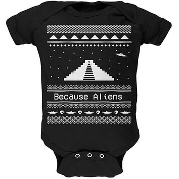 Ancient Aliens Ugly Christmas Sweater Black Soft Baby One Piece