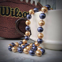 Team color necklace~team jewelry~pearl necklace~sports team color jewelry~football jewelry~sports colors necklace~customize your team colors