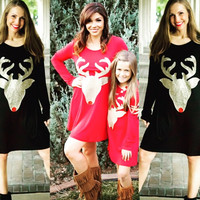 Christmas Mommy and Me Matching Deer Tunic Dress