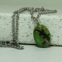 Reptile pendant Gecko and dragonfly engraved green imperial jasper pendant
