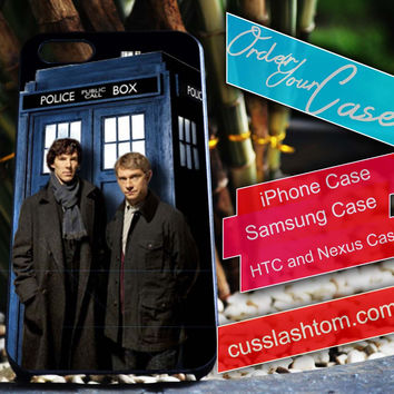 Exclusive Sherlock Tardis iPhone for 4 5 5c 6 Plus Case, Samsung Galaxy for S3 S4 S5 Note 3 4 Case, iPod for 4 5 Case, HtC One M7 M8