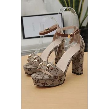 GG Women Leather Heels Sandals Shoes