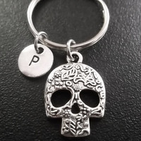 Sugar skull Day of the dead, keyring, keychain, bag charm, purse charm, monogram personalized item No.831